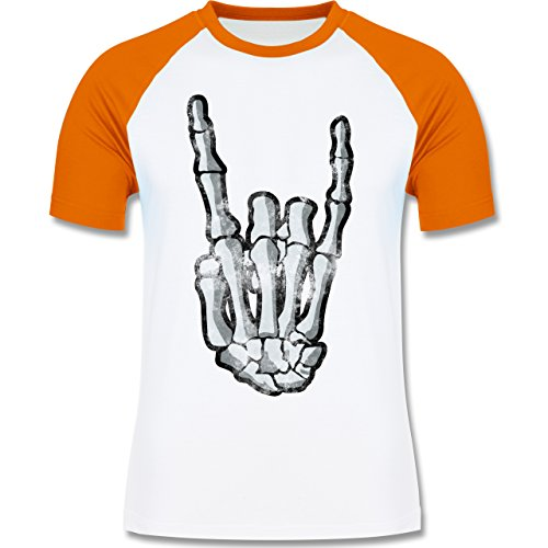 Shirtracer Metal Metal Horns Skelett Hand Herren Baseball Shirt Weiß/Orange