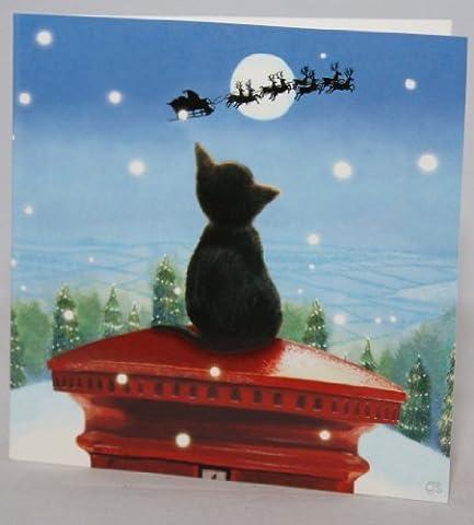 Rechtzeitig zu Weihnachten / Chrissie Snelling Schwarze Katze auf Briefkasten / (Katze Weihnachtskarten)