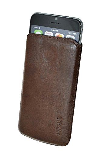 Original Suncase® Etui Tasche für | iPhone 8 / iPhone 7 / iPhone 6s / iPhone 6 (4.7 Zoll) | Leder Etui Handytasche Ledertasche Schutzhülle Case Hülle *Lasche mit Rückzugfunktion* antik-lachsrosa rustik-mocca braun