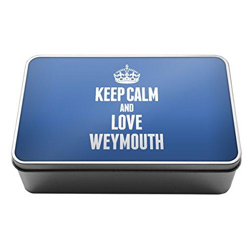 Blau Keep Calm und Love Weymouth Metall Aufbewahrungsdose Box 0702 (Weymouth Bit)