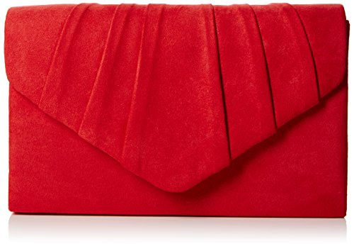 Swankyswans Damen Iggy Suede Velvet Envelope Party Prom Clutch Bag Tasche, Rot (Red 03), One Size Glitter Patent Schuhe