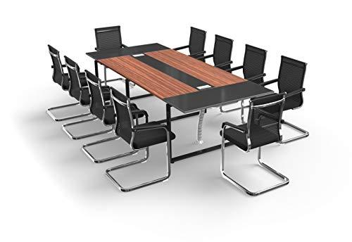 TOPREGAL Besprechungstisch Meetingtisch Konferenztisch Set ANJA mit Stühlen für 10-14 Personen (ANJA280: B280 x H75 x T120cm mit 10 Stühlen)
