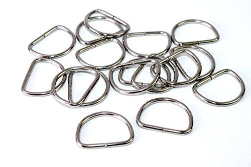 D-Ringe-Halbringe, 50 Stück 20x15x2mm *verchromt* für 20mm Gurt/Band geeignet.