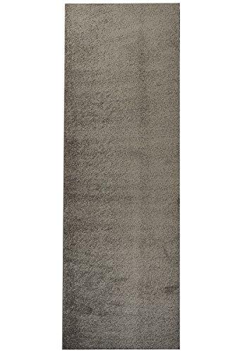 Luxus Hochflor Teppich Prestige Läufer - schadstoffgeprüft pflegeleicht antistatisch robust und strapazierfähig | schmutzabweisend und dekorativ | Wohnzimmer Schlafzimmer Büro Flur Diele, Farbe:Braun, Größe:100 x 300 cm