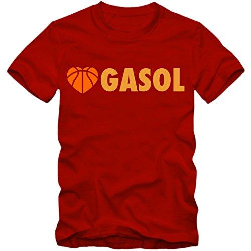 Shirt Gasol Pau (Herren T-Shirt Love Gasol Spanien Spain Espana Basketball EM 2015 Pau, Farbe:rot / gelb;Größe:M)