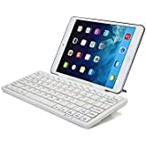 Teclado Samsung Galaxy Tab 3 Lite 7.0 (T110) / 3G (T111) Bluetooth con dock K2000 de Cooper Cases(TM) en Blanco (Teclado inglés americano QWERTY, soporte para visitando integrado, compatible con Android, iOS y Windows)