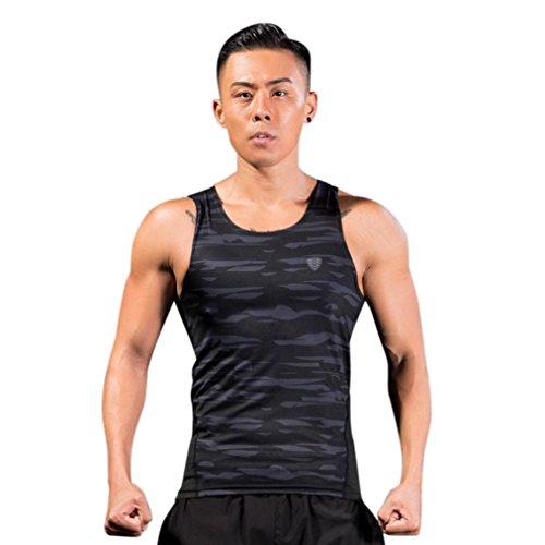 Hanes Athletisches Shirt (2018 Neue Quick-Dry Tops Herren, DoraMe Männer Kurzarm Shirt Elastisch Fitness Sport Bluse Laufende Yoga Athletische Hemd Leggings Training Tops (Grau, Asien Größe 2XL))