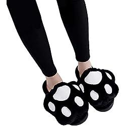 LUOEM Zapatillas de Estar por Casa Zapatillas Peluche Invierno Antideslizante Pantuflas Zapatillas Garras de Animal Mujer (Patas Gato Negro) size 39-40
