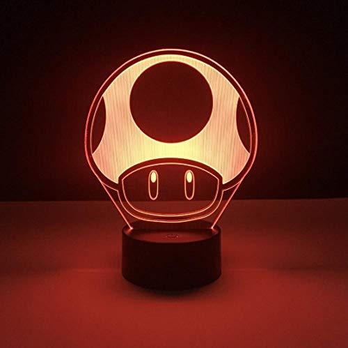 SFALHX Spiel Super Mario 1 Up Pilz Kinder Led Nachtlampe für Kind Schlafzimmer Dekorative 3d Lampe Batteriebetriebene Kühle Baby Nachtlicht 3d