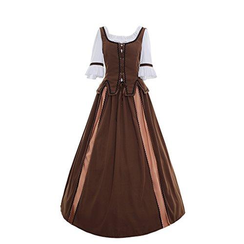 COUCOU Age Mittelalter Viktorianisches Kleid Lolita Schnürschuh Ballkleid mit Langen Ärmeln Braun