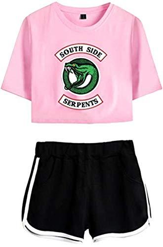 Shirt Hose (Riverdale Southside Serpents Damen Kurzarm T-Shirts + Kurze Hose Sets Sport Streetwear Bekleidungsets)