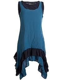 Vishes - Alternative Bekleidung - Armloses Lagenlook Kleid aus Baumwolle mit Rüschen