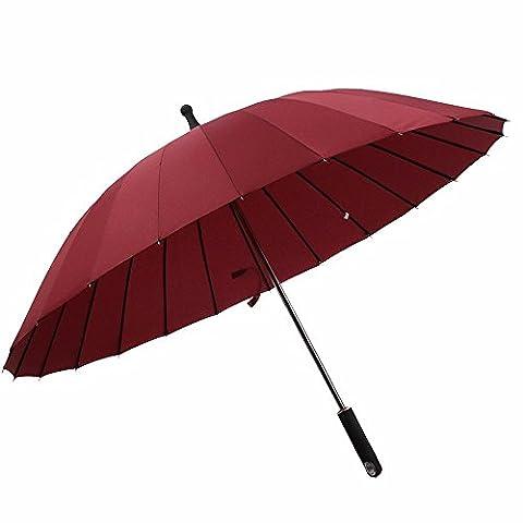 Parapluie–Long coupe-vent et tempête–Parapluie pour homme et femme 24baleines–Style Classique avec poignée droite Rouge–Xhopos Home