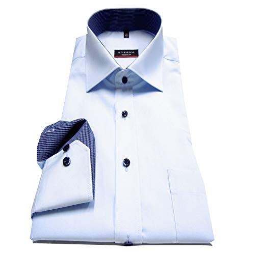 eterna Herren Langarmhemd Business-Hemd Modern Fit Kent-Kragen Unifarben mit Patch (45, Hellblau F1) -