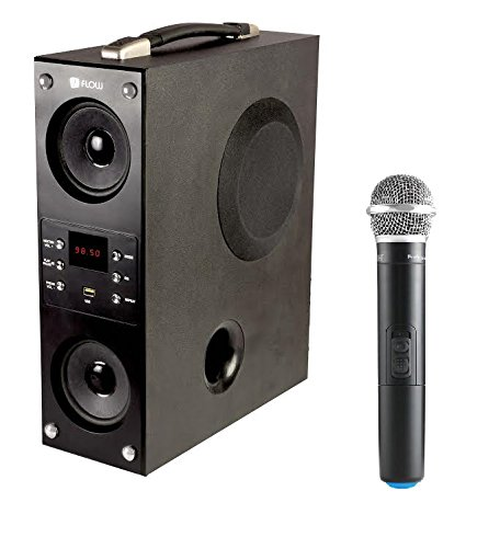 Flow Mini Boom Box Bluetooth Tower Speaker Karoke Wireless Mic-1.2Feet (Black)