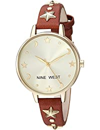Nine West Women's Quartz Metal and Polyurethane Dress Watch, Color:Brown (Model: NW/2126CHBN)