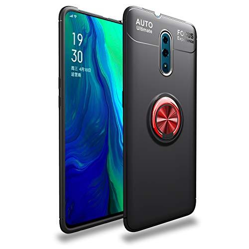 """XunEda Oppo Reno 6.4"""" Cover Custodia, Custodia Soft Custodia in Silicone Protettiva [Supporto Magnetico per Auto] con Pellicole Protettive per Oppo Reno Smartphone (BK+RD)"""