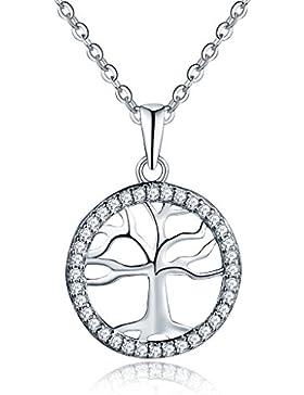 YL Halskette Baum Des Lebens 925 Sterlingsilber Zirkonia Halskette Familienstammbaum mit Anhänger Kette für Frau...