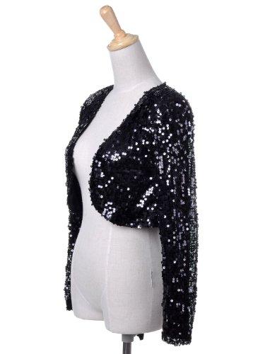 Anna-Kaci donna lustrino manica lunga Glitter Paillettes Bolero Blazers Shrugs Cropped Giacche cappotto Giacca Black