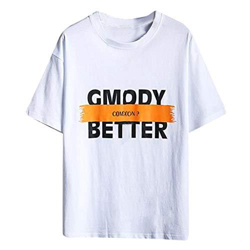 Baumwollmischung Große Größe T-Shirts für Herren, Skxinn Männer Casual Drucken Tees Shirt Kurzarm T-Shirt Sweatshirts Basic Rundkragen Vatertags-T-Shirt M-5XL Ausverkauf(Weiß,Medium)