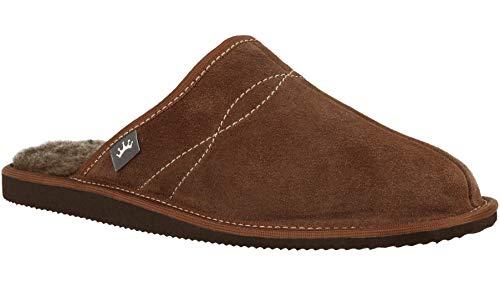 RBJ leather shoes Herren Hausschuhe aus Leder und natürlicher Lammfell Wolle, Männer Pantoffeln Glattleder oder Wildleder (Option) (45 EU, Wildleder Braun)
