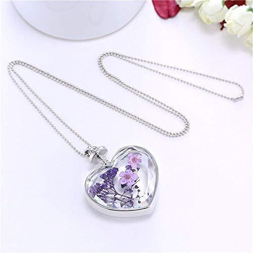 ZK.nesi Damenmode kristall Herz anhänger Lavendel herzförmige Plum Glas Halskette