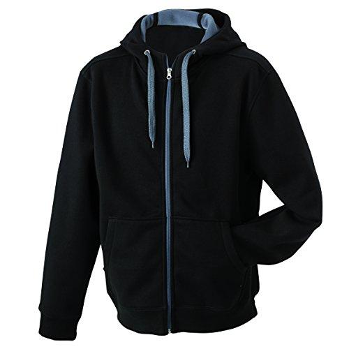 JAMES & NICHOLSON - sweat - veste sportive à capuche - ouverture zippée - intérieur polaire - JN354 - Femme noir-carbone