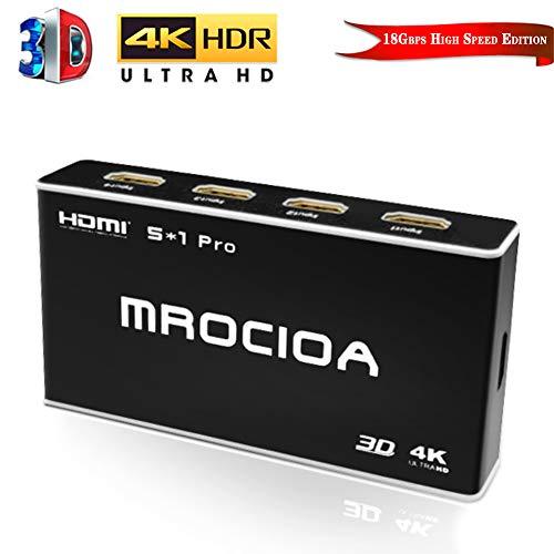 5 in / 1 Out 4K 60Hz und HDR+ 3D HDMI 2.0 Switcher Box mit Fernbedienung, 5 Port 18Gbps HDMI Selector Splitter für PS4 Pro/Xbox One X/Fire TV/Apple TV 4K / Sky Box/Laptop/Roku. ()