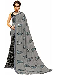 Gaurangi Creation Chiffon Saree With Blouse Piece (SS1003_Grey_Free Size)