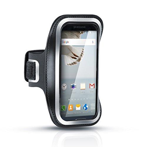Arendo - Sportarmband Schweißbeständiges Fitness Armband für Samsung Galaxy S3 S4 S5 HTC One, LG, Huawei usm. | Wasserabweisend | mit Schlüsselfach - hoher Tragekomfort durch veränderbare Länge - inkl. Reflektorstreifen