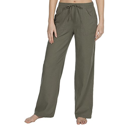 Metzuyan Womens Linen Summer Drawstring Trouser Pants