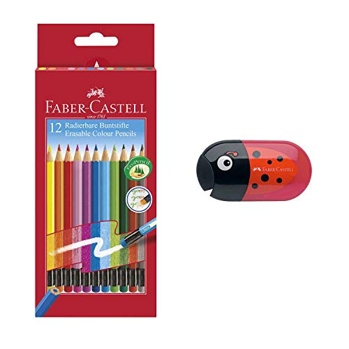 Faber-Castell 116612 Radierbare Buntstifte mit Gummitip, 12er Kartonetui (12er + Kafer Spitzer inkl. Radierer)