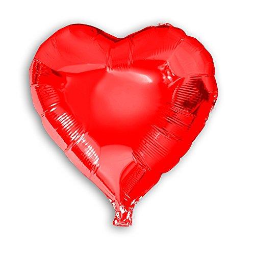 lienballon Herz Kreis rund rot silber Dekoration Ballon Luftballon Hochzeit , Modell:Herz rot ca.45cm;Auswahl:ohne Heliumfüllung (Rot Folienballons)