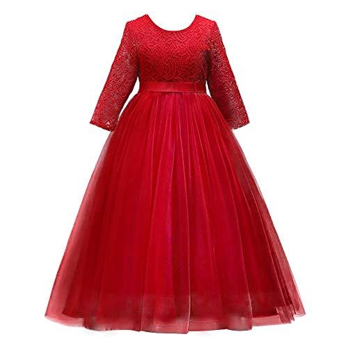 IBTOM CASTLE Mädchen Prinzessin Kleid Blumenmädchenkleid Taufkleid Festlich Kleid Hochzeit 4-5 Jahre