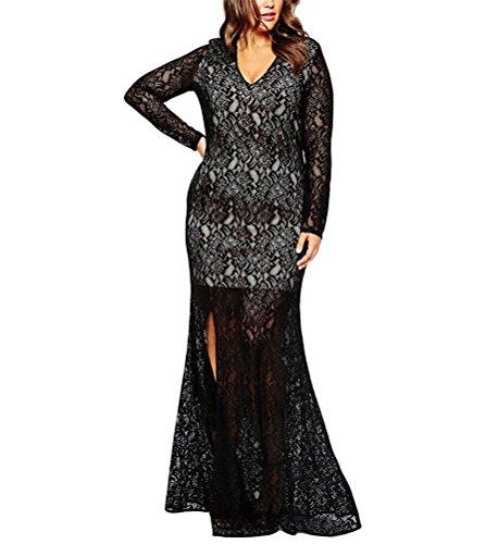 Brinny Grand Taille élégante Femme Maxi Robe Creux Dentelle sexy V-cou Fendue pour Cocktail Soirée Partie Mariage Noir / Bleu 6 Taille: 3XL-8XL Noir