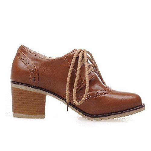 AllhqFashion Femme Couleur Unie Pu Cuir à Talon Correct Rond Lacet Chaussures Légeres Brun