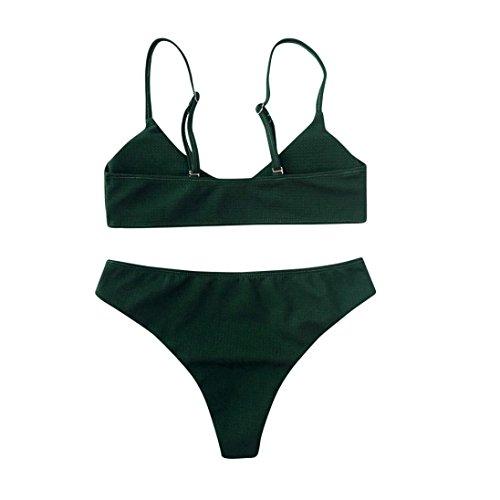 Costume Da Bagno,Kword Costume Da Bagno Delle Donne Bralette Bikini Set Sexy Spinta Solido Up Bikini Bralette Swimwear Fondo Bikini Sfacciato Bikini Set Verde