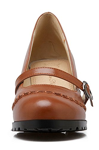 Rodada Senhoras Ye Pé Mary Marrom Calcanhar Do Cinco Sapatos Jane Tiras Bloco Dedo Centímetros Fechado Com Bombas wwEqFAWf