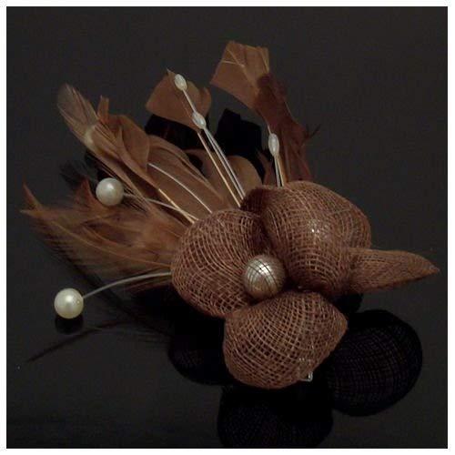 Acosta marron en imitation perle plume &Perles-Barrette bibi Floral en flacon vaporisateur-Broche/pince à cheveux