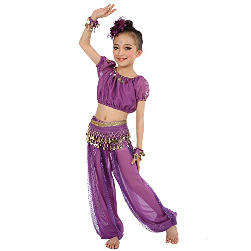 Magogo Mädchen Bauchtanz Kostüm Geburtstagsfeier Kostüm, Cosplay Arabische Prinzessin Dancewear Glänzende Karneval Outfit für Kinder (XL, ()