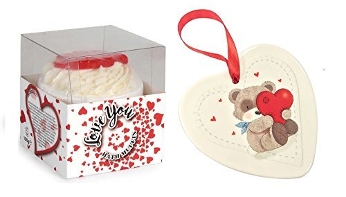 Muffin and Hanging Valentine Teddy Bear Love Heart ()