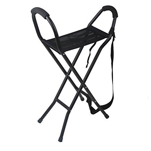 WAOBE Spazierstock-Schemel-Aluminiumtragbare vierbeinige faltende Krücken einfach zu tragen passend für mittleres gealtertes und ältere Leute 70-78cm (78 Tragen)