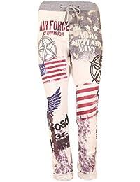 11ada1ba52 Pronto Moda Damen Baggy Hose Freizeithose Boyfriend Style Baumwolle Sweat  Pants Tunnelzug USA Design Print