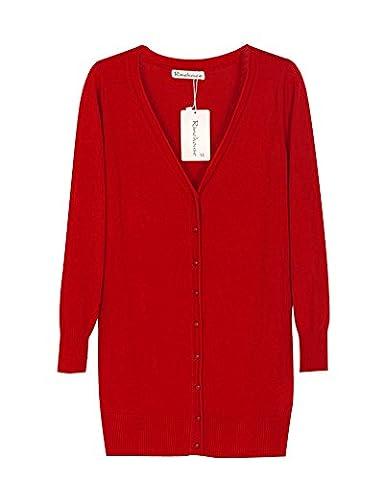 Femme V-Cou Loisir Longue Section Cardigan En Maille Manche Longue Châle Manteau Rouge M