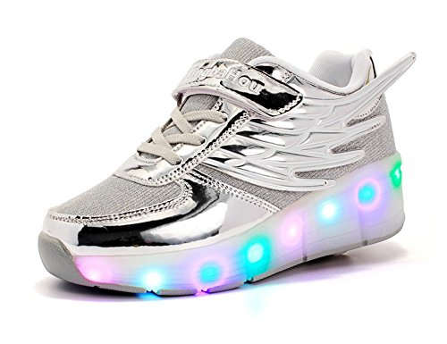 Mr.Ang Unisex LED coloridos Luces Zapatos con Ruedas Niña Zapatillas Deporte Patín Ruedas Zapatos para Mujer hombre