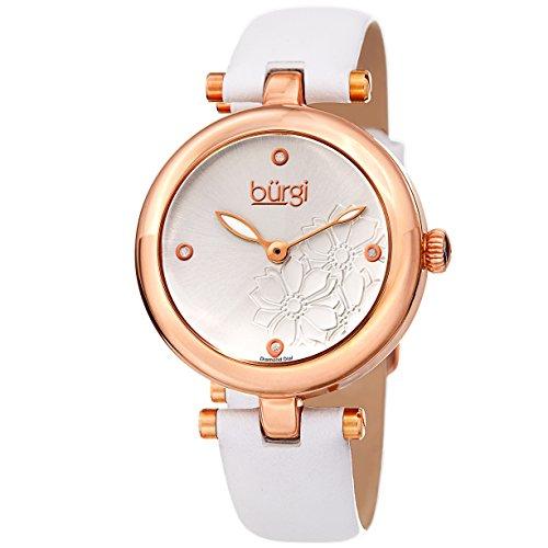 Burgi Femme Bur197wtr Diamant Accentuée Fleur Cadran Rose doré et bracelet cuir Blanc montre