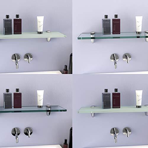 DURAFURN® Glasablage Glasregal Spiegelablage Badablage Wandhalter Wandregal Duschablage in 8mm als Variante klares Glas mit Edelstahlhalter 800 x150