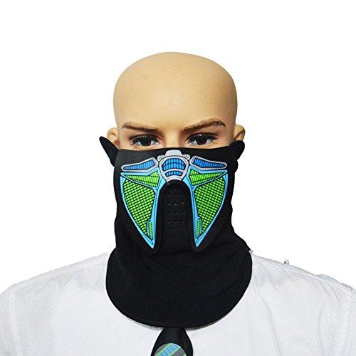 g Gesichtsmaske Party Masken-Voice & Sound-Aktiviert, Atmungsaktiv, Leichtgewicht - Perfekt für Halloween, Partys, Raves, Musikfestivals, Reiten & Snowboarden (A7) (Halloween Rave)