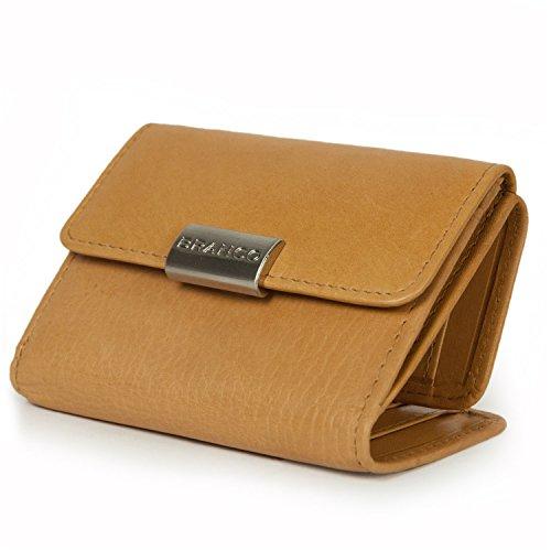 Kleine Geldbörse / Portemonnaie Größe S für Damen aus Leder, Natur-Beige, Branco 12032 (Geldbörse Leder Klassische Leder Aus)