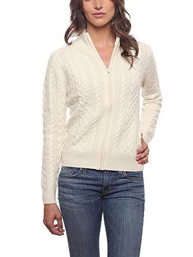 Invisible World Cardigan Invernale Maglioncino Donna in Puro Cashmere Aperto Davanti con Zip 3 Strati Girocollo Katy - Bianco XL